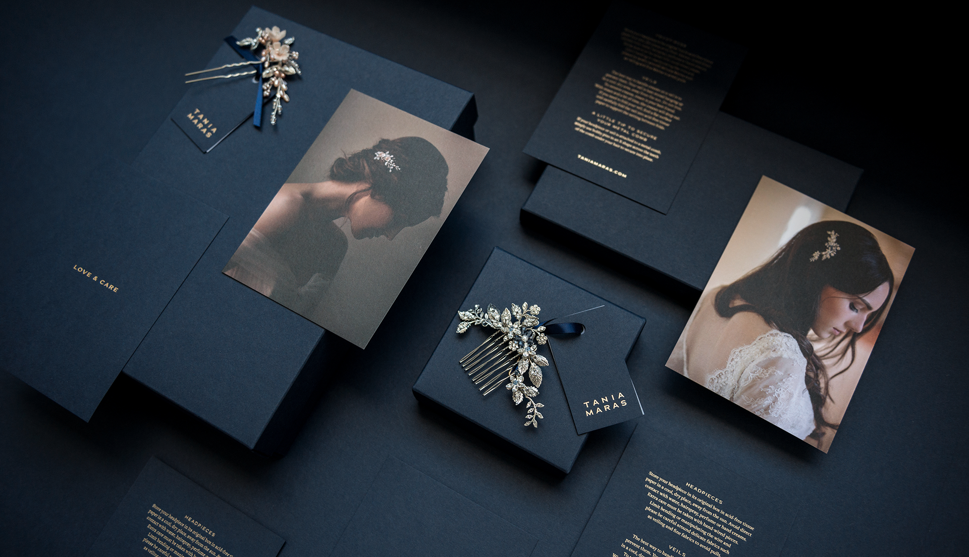 Navy and gold packaging and stationery